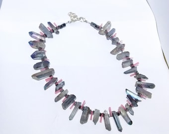 Blue quartz, pinkness, and hematite necklace