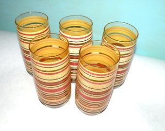 Mod Tumblers-  Stripes Juice Glasses- 2017 Vintage Trends Mid Century Barware- Stripes- Drinkware- Glassware- READY to Ship