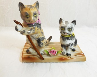 Two Cats on a Raft - Lenwile Ardalt Japan - 1950's, vintage collectible