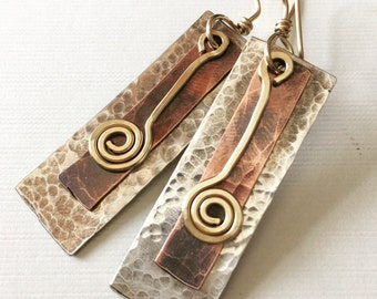 Sale! 15% off with coupon code THANKYOU! Silver, copper and gold-filled hammered earrings
