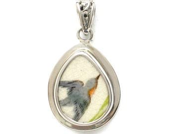 Broken China Jewelry Vintage Bluebird Blue Bird Sterling Drop Pendant