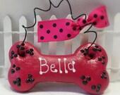 Dog Christmas Ornament, Personalized Dog Ornament, Custom Dog Bone Christmas Ornament, Pet Lover Gift