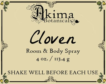 CLOVEN Room & Body Spray 4oz ~ clove, blackberry, vanilla, lilac ~ Free from alcohol, parabens, preservatives ~ For home, office, car