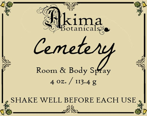 CEMETERY Room & Body Spray 4oz ~ fresh earth, grass, rose, sweet pea ~ Free from alcohol, parabens, preservatives ~ For home, office, car