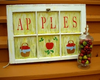 Old Vintage Window Hand Painted Apple Motif / One of a Kind