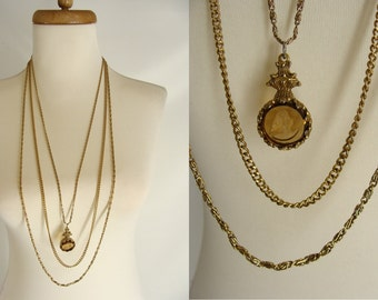 TEMPORARILY REDUCED was 68.88 Signed vintage Goldette NY 3 Strand Amber Glass Carved Intaglio Cameo Pendant Multi Chain Necklace