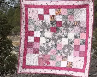 Pink and Gray Scrappy Baby Quilt