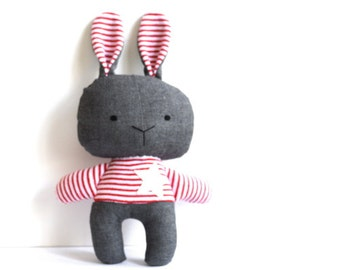 Bunny softie stuffed bunny rabbit toy soft toy rag doll stuffed toy stuffed rabbit fluffy grey wool woolen red white stripes 28 cm 11 inches