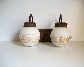 vintage Victorian filigree lamp . antique lamp . rustic lamp . dual ornate lamp . vintage decor . vintage lighting for home . decor