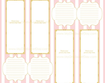 2x6 Photo Booth Guest Book Scrap Book Downloadable 12x12 Pages Gold and pink
