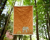 Crib Size Elephant Quilt in Linen - Muted Orange Background - Backed in Oatmeal Linen