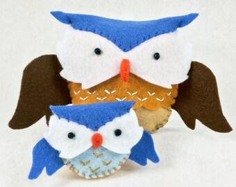 Owls Sewing Kit, Felt Owl and Owlet Ornament, Felt Bird Kit, Beginner Sewing Kit, DIY Sewing, Hand-Stitching, 'Owl Love' Heidi Boyd