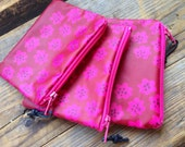 FREE SHIP Marimekko Finland Pink Puketti oil cloth fabric coin purse, super cute