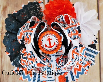Ahoy matey anchor hair bow, boutique style, orange, navy, Ready to ship, glitter, nautical bow, m2mg