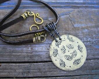LOTUS FLOWER NECKLACE Buckskin Boho chic pendant necklace buckskin cord
