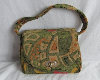 Vintage 1960s Olive Fuzzy Carpet Purse Hand Bag 100% Groovy      Box E