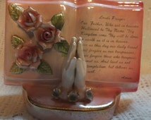 Praying Hands Lord's Prayer Book Bud Vase Planter