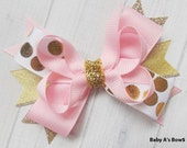 Pink and Gold Bow - Pink and Gold Party, Birthday Bow, Shabby Chic