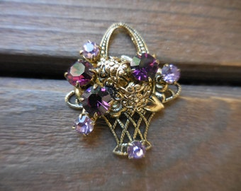 Vintage 1950s to 1960s Gold Tone Filigree Basket With Flowers Purple/Pink Rhinestones Pronged Small Sparkly