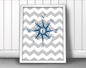Nautical Compass Art Print, Chevron Nautical Art Print, Compass Art Print, Nautical Ocean Sea Art Print, Nautical Art Compass Poster, NESW