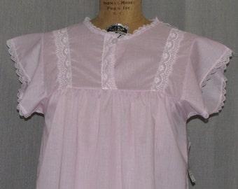 Vintage 1960s Night Gown Pink Dacron & Cotton Semi Sheer Lingerie Sleepwear Small Unworn / Deadstock