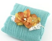 Turquoise Cotton Wrap for Newborn Photo Prop - Aqua Green Wrap & Orange Yellow Silk Flower with Lace Leaves Headband, Baby Girl Shower Gift