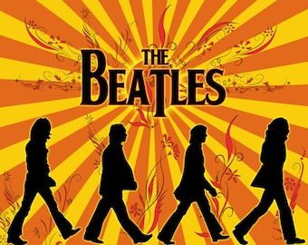 THE BEATLES in SILHOUETTE   24 x 36 inch poster  