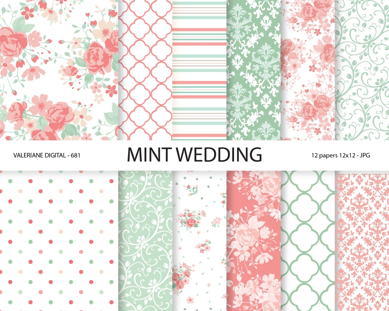 digital paper mint mint digital papers wedding papers. Black Bedroom Furniture Sets. Home Design Ideas