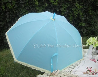 Victorian Parasol, Light Blue, Rain or Shine, Parasol Name: Alicia Blue