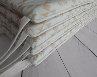 Crib Bimper Pads - Neutral Baby Deer  and Soft Mint Navajo Print - Reversible Pads  - Shown with white piping and ties