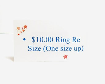 Michaelangelas, ring re size, jewelry re size up or down, ( 1 size )