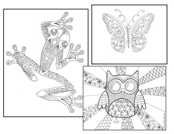 DIY Bookmark Printable Coloring Page Zentangle Inspired FrogButterfly Owl 3 Pack Zendoodle Doodle PDF Instant Download Animals