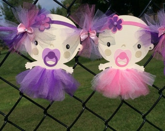 Twins banner, baby shower banner, tutu baby shower, tutu banner, twins baby shower, twins tutu banner, pink and purple decorations,