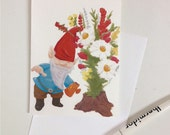 Gnome in the Garden note card set of 8 cards