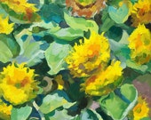 Original oil painting of flowers. Flower painting. Sunflowers in summer 2015. Morning.