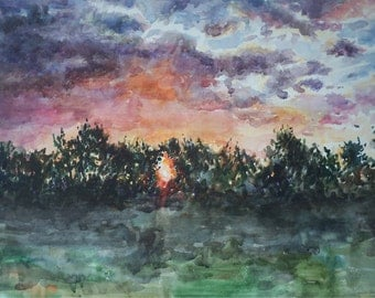 Original Watercolor Painting. My dawn.