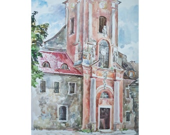 Original Watercolor Painting. Dominican Church.