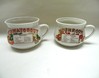 Vintage Soup Cups Mugs Vegetable Recipe Soups Ceramic Bowl Set Of Two
