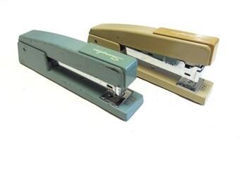 Swingline Stapler Tacker Set Of Two Brown Green Desk Type
