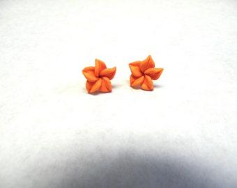 Orange Hibiscus Flower Earrings Post