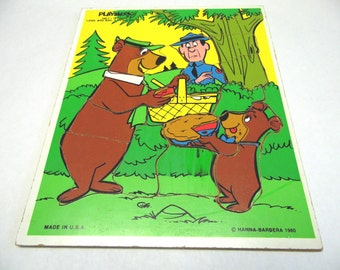 Playskool Wood Puzzle 340-7 Yogi Bear Boo Boo Wood Frame Tray
