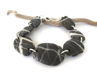 Rock Bracelet River Stone Jewelry Mediterranean Beach Stone Bracelet Pebble Jewelry River Stone Natural Stone Bracelet BE STRIPED
