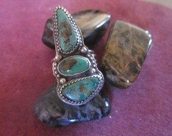SALE  Green 3 Stone Nevada Turquoise Ring