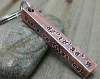 Coordinates Keychain - Copper Bar Keychain - Latitude Longitude Keychain - Hand Stamped Keychain - GPS Coordinates - Men's Keychain