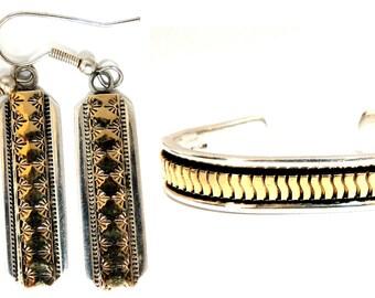 Designer: C. Harrell Dangling earrings & Bangle Bracelet 14kt and 925