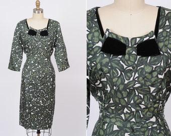 1950s dress/ 50s cocktail dress/ large