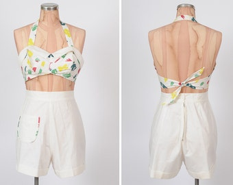 1940s play set/ 40s cotton pique shorts and halter top/ small