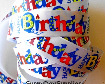 Happy Birthday Ribbon, White Satin Background,  7/8 inches wide, 3 Yards, Colorful Birthday Ribbon, Glittery, Festive, Party