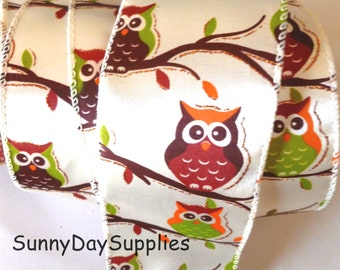 Owl Ribbon, Satin, Wired, Autumn Ribbon, Orange, Burnt Orange, Green and Rust Color Owl in Tree,  2 YARDS, 2.5 inches wide, Owls on Branches