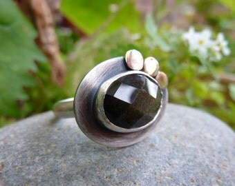 Silver and triple gold moons ring with golden obsidian